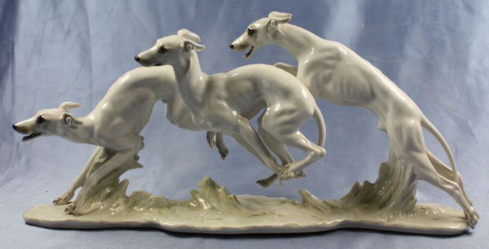 Rare Large whippet figurine sighthound hutschenreuther perfect figure