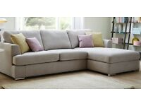 DFS corner sofa light grey with cushions and stain protection