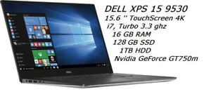 DELL XPS 15.6 QHD (4K) TouchScreen  i7 ,3.3G,16GB,128GB SSD +1TB
