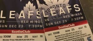2 tickets to Maple Leafs versus RedWings Dec 23/18 In Toronto.