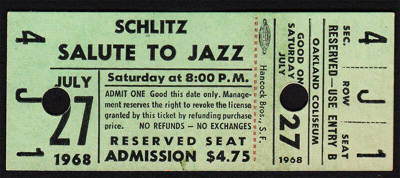 Thelonious Monk + Dizzy Gillespie **RARE** Schlitz Jazz Fest 1968 Concert Ticket