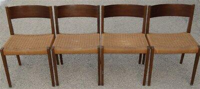 4 Woven Seat Side Chairs Danish Modern Juhl Wegner ERA *  1967 Yugoslavia?