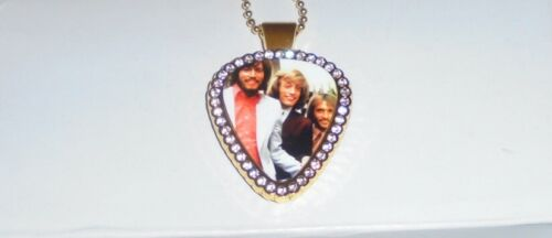Bee Gees Band Barry Gibb Concert Guitar Pick Pendant Love Music Disco Rock MTV P