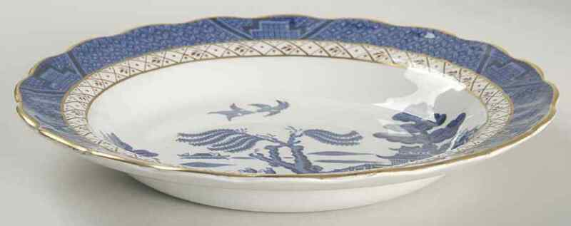 """Booths REAL OLD WILLOW BLUE 8 1/2"""" Rimmed Soup Bowl 38715"""