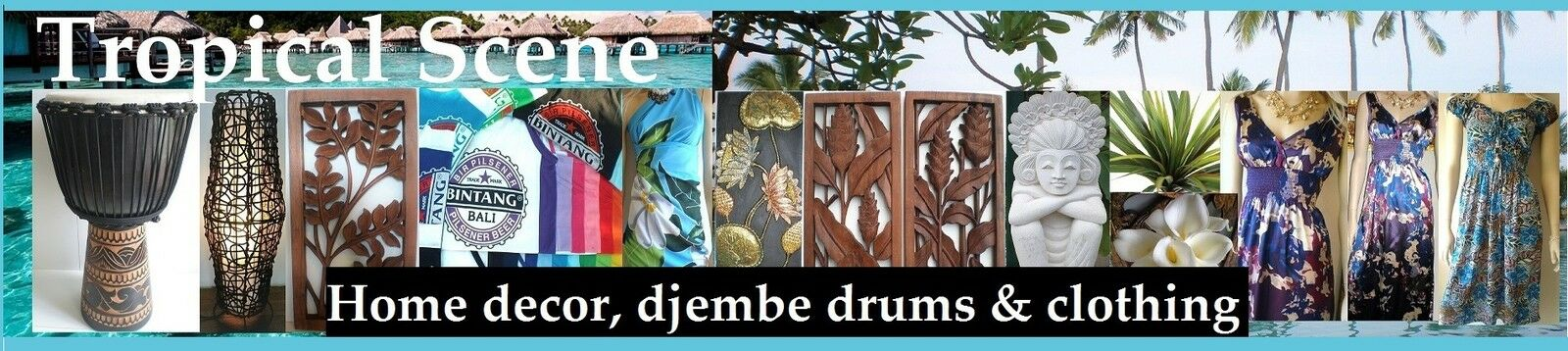 Tropical Scene Home Decor, Djembes