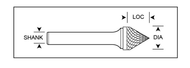 """5//8/"""" Diameter 1//4/"""" Shank Cone Shape 60° USA Carbide Burr Single Cut SJ-6"""