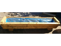 Pair of upcycled large chunky wooden plant troughs