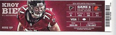 2014 ATLANTA FALCONS VS CLEVELAND BROWNS TICKET STUB 11/23  (Cleveland Browns Ticket Stub)