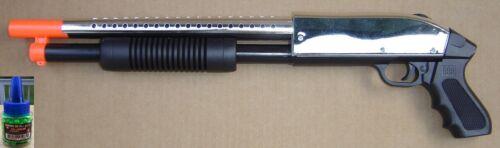 688S Black/Chrome Airsoft Spring Powered Shotgun Style Gun +200 6mm 0.12g BB BBs