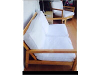Sofa and chair set white textile and wooden frame