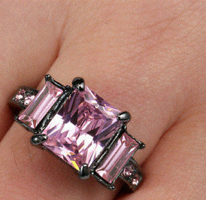 Rhodium plated Pink sapphire Crystal Ring, Black, Size 7