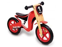 VILAC WOODEN BALANCE BIKE - BRAND NEW IN BOX - MOTO CROSS STYLE RED & BLACK