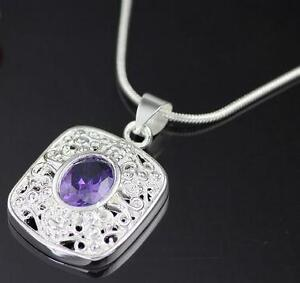 Fashion jewelry amethyst pendant necklace in 925sterling silver. Free Shipping