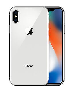 64 GB Silver iPhone X and 2 cases