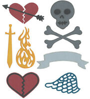 QuicKutz 4x4 TATTOO ART(Wings Skull Hearts Sword Banner) die-$12