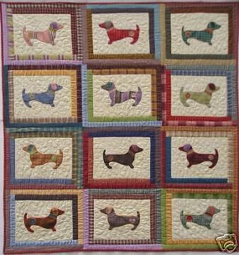 Quilt PATTERN Hot diggity dog  Dachshund applique puppy