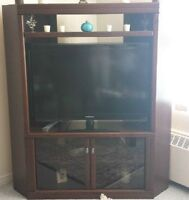 Moving sale -  beautiful dark brown corner TV stand