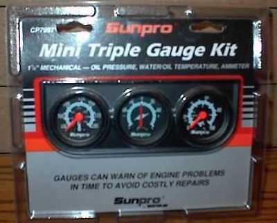 "Sunpro 1-1/2"" Mechanical Mini Triple Gauge Set Black / Black Bezel New CP7997"