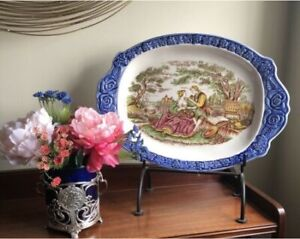 Vintage Hand Painted Porcelain Meat Turkey Platter Tray Japan