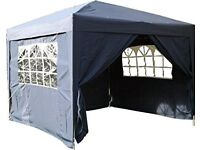 Airwave gazebo fully waterproof in navy blue 3m x 3m with 4 side panels