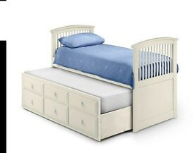 Stone White Wooden 3 Drawer Storage Guest Bed and Trundle - 3ft Single