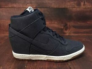 Nike Sky Hi Wedge Dunks in Denim