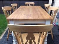Shabby chic Farmhouse table & six chairs