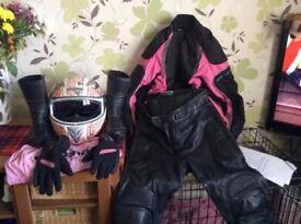 Ladies bikers gear helmet gloves full leathers