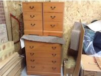 2 bedside cabinets and tall chest of drawers