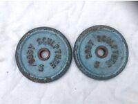 14 x 5kg Bodysculpture Blue Standard Cast Iron Weights