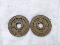 16 x 1kg Weider Standard Gold Cast Iron Weights
