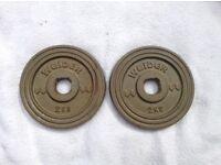 8 x 2kg Weider Standard Gold Cast Iron Weights