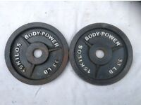 2 x 15kg Bodypower Olympic Cast Iron Weights