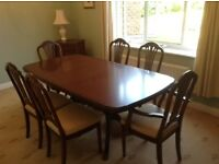 Strongbow mahogany dining table and six chairs