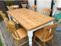 Farmhouse solid pine table & six chairs