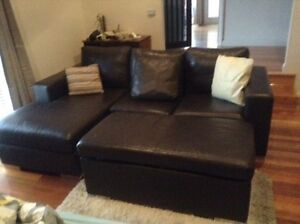 Brown leather couches 3 seater couches Altona Meadows Hobsons Bay Area Preview