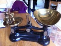 Brass Kitchen Scales with weights