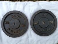 2 x 25kg Bodypower Standard Cast Iron Weights