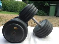 2 x 47.5kg M&F Rubber Dumbbell Weights