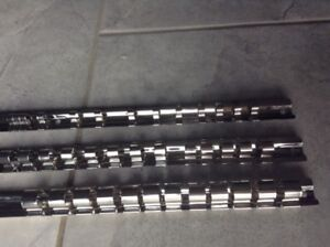 1/2, 3/8 and 1/4 Socket Wrench Rail Organizers