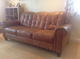 Dfs brown leather three seater sofa