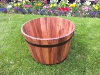 Medium Size Acacia Hardwood Garden Barrel Planter With Decorative Bands & Handles - Only £19.95