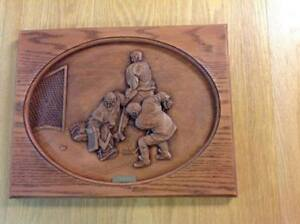 """""""He Scores"""" dimensional wood plaque by Kim Murray"""
