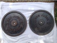 2 x 20kg Ron Judge Standard Cast Iron Weights
