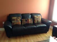 Black Leather Couch Set of 2