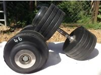 2 x 46kg ex-Hampton Rubber Dumbbell Weights