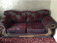 2x 3 seater sofas with 2x matching stools