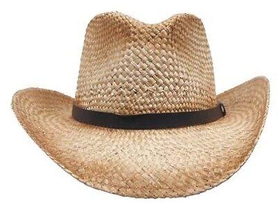 Bogarthut Strohhut mit Hutband aus Leder NEU Cowboyhut Sonnenschutzhut NEU