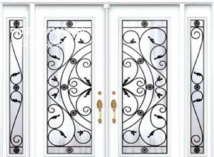 TwoSidelights Entry Front Double Door  Top Quality