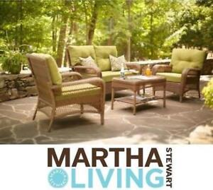 NEW MARTHA STEWART 4PC CHAT SEATING SET - 130464221 - Charlottetown Brown 4pc Set with Green Cushions - PATIO
